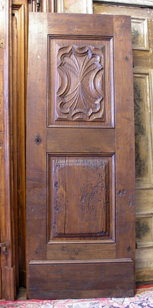 Antique entry door (ptci278) with carved decorations. made of walnut wood. - Antique Entry Door (ptci278) With Carved Decorations. Made Of Walnut